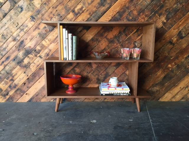 Small Mid Century Style Custom Walnut Zig Zag Shelf