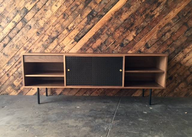 Mid Century Style Custom Walnut Perforated Credenza