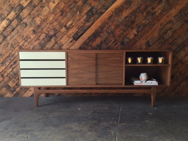 Mid Century Style Custom Walnut Credenza with 4 drawers and 2 doors