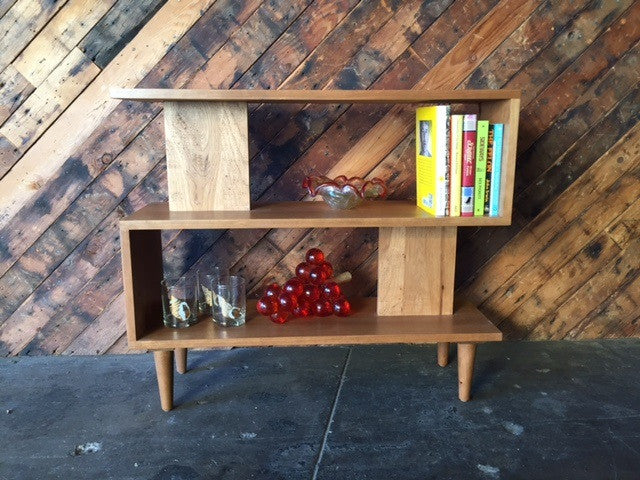 Mid Century Style Custom Cherry Wood Zig Zag Shelf