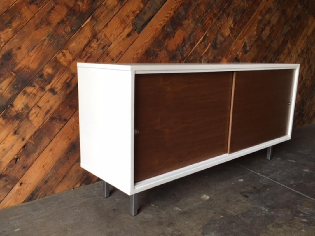 Custom Mid Century Style Off White Lacquer Credenza