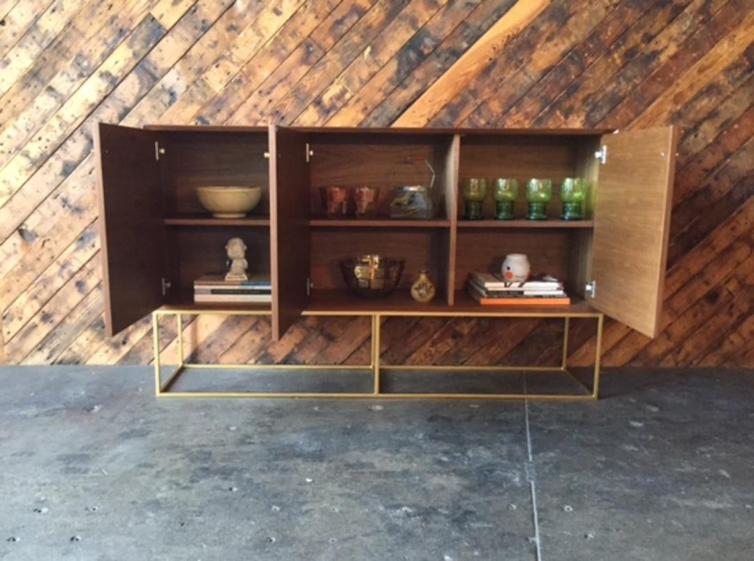 Custom Handmade Walnut Brass Base Credenza, Mid Century Style with 3 swing out doors
