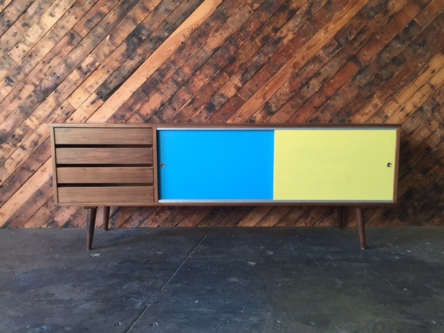 Mid Century Style Custom Walnut Credenza with 4 drawers and 2 painted doors