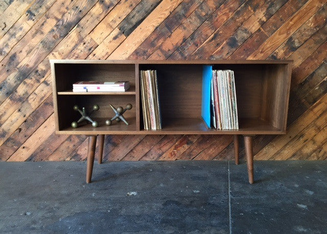 Mid Century Style Custom Walnut Record Bar Credenza with 2 record bays and 2 media bays