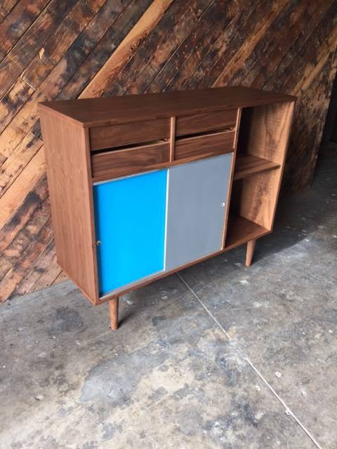 Mid Century Style Custom Walnut Bookcase with doors, drawers and multiple bays