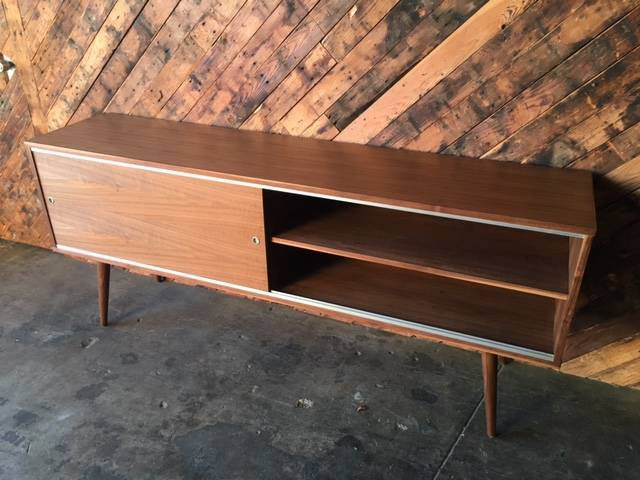 Mid Century Style Custom Walnut Credenza with 2 large sliding doors