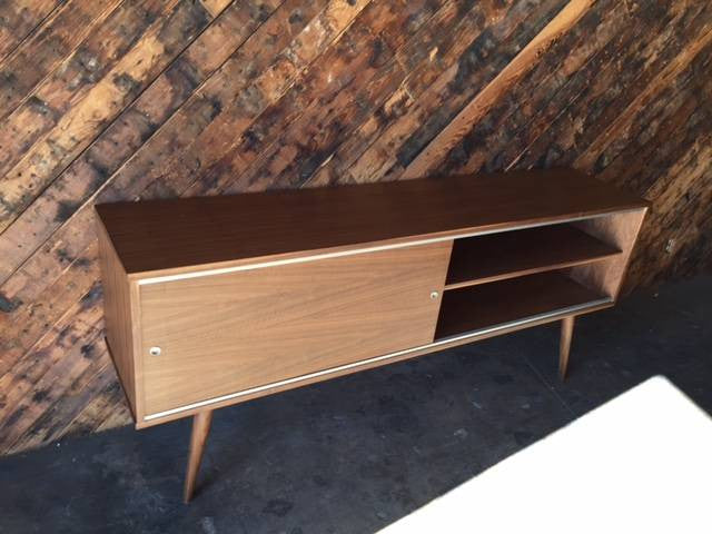 Mid Century Style Custom Walnut Credenza With 2 Large