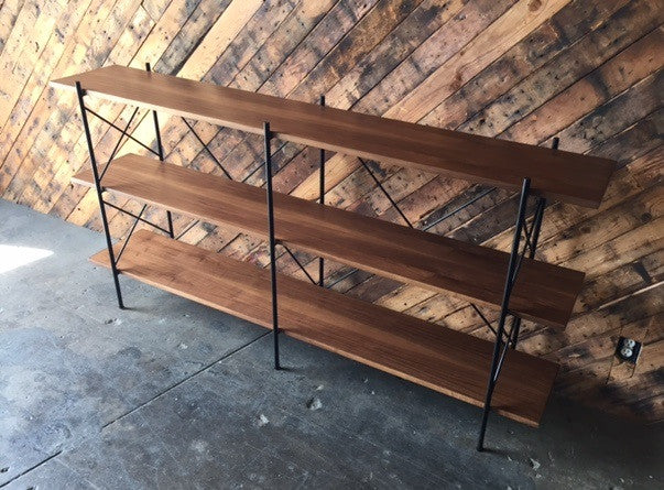 Custom Hand Made Iron Walnut Shelf, Mid Century Style with 4 bays