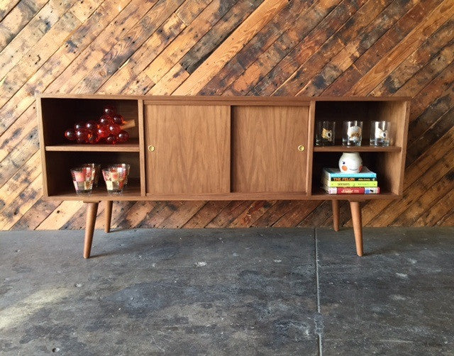 Mid Century Style Custom Walnut Compact Credenza with 3 bays and 2 sliding doors