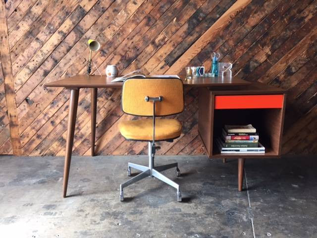 Mid Century Style Custom Large Walnut Desk