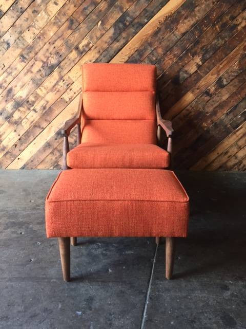 Custom Mid Century Lounge Chair with Ottoman