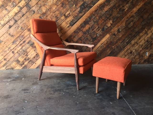 Custom , Mid Century Style Lounge Chair with Ottoman