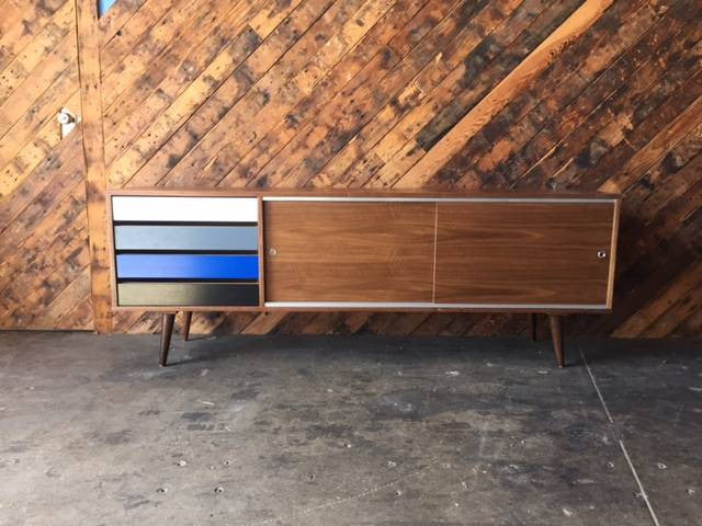 Mid Century Style Custom Walnut Credenza with metal track and 4 painted doors