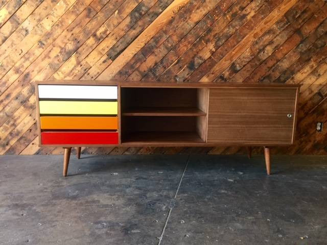 Mid Century Style Custom Walnut Credenza with 4 painted drawers