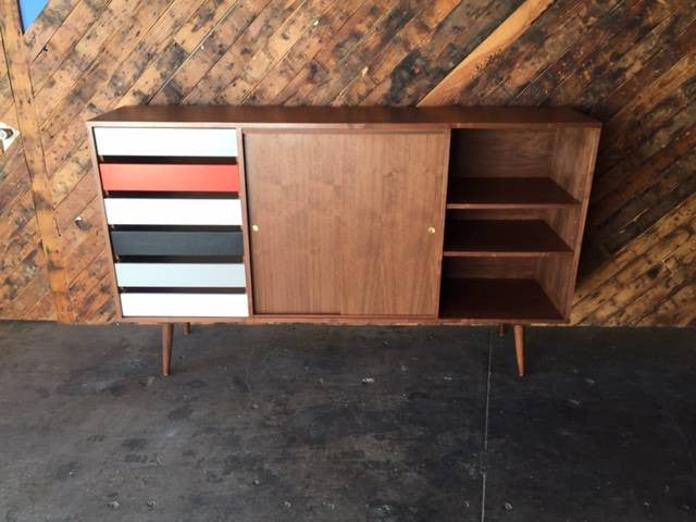Mid Century Style Custom X Large Credenza with 6 drawers
