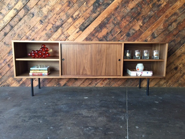 Mid Century Style Custom Walnut Credenza with 3 bays and 2 sliding doors