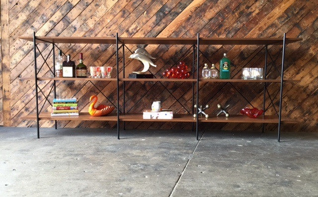 Custom Hand Made Iron Walnut Shelf, Mid Century Style with 6 bays