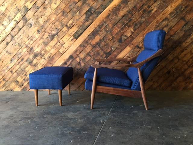 Custom Mid Century Style Lounge Chair with Ottoman