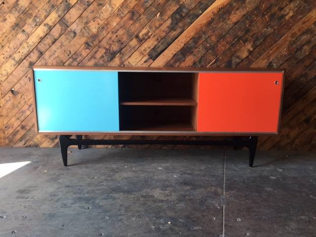 Mid Century Style Custom Lacquer Credenza and sculpted base