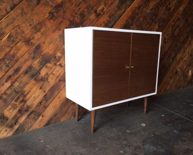 Custom Mid Century Style Walnut Lacquer Cabinet
