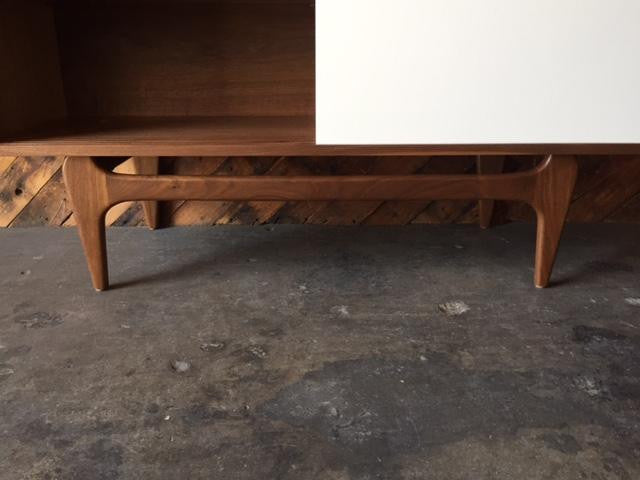 Custom Mid Century Style Walnut Sculpted Base Credenza with painted doors