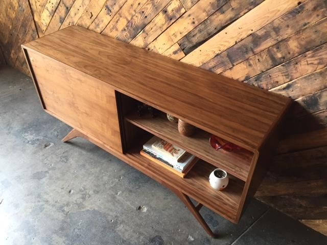 Mid Century Style Custom Walnut Sculpted Base Credenza with shelves only