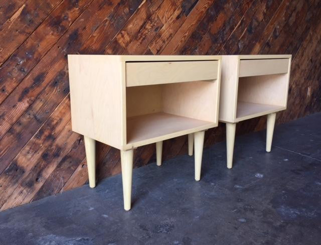 Custom Mid Century Style Maple Pair of Nightstands