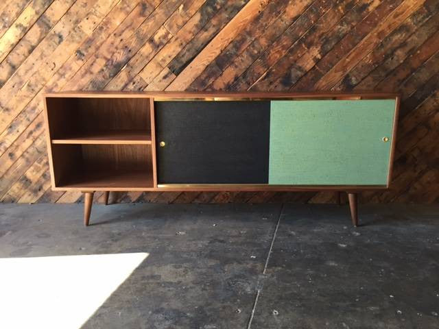 Mid Century Style Rosewood and Brass Custom Media Credenza