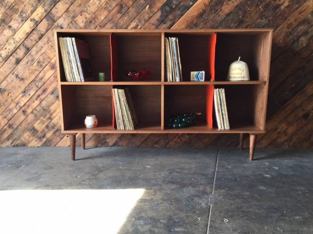 Custom Two Tiered Modern Record Cabinet Credenza, Mid Century Style