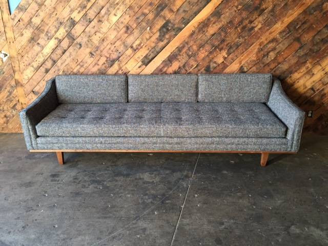 Mid Century Style Sofa with Walnut Trim