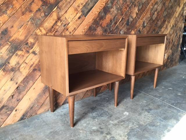 Custom Mid Century Style Extra Large Nightstands