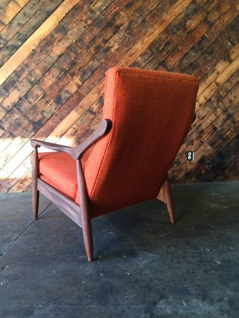 Custom Orange Danish Mid Century Style Lounge Chair