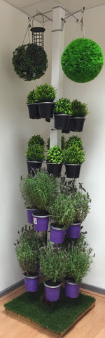 Complete Patio / Office Vertical Garden Display - Mixed 28 Pk of 4 Hanging Basket brackets and 24 Plant Pot brackets. Includes stand and base. £165.00.