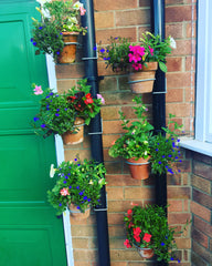 6 Single drain pipe plant pot holders / hanging brackets £18.88 gardening garden drainpipe fence wall pergola plant hangers herbs flowers pot hanging fit it seconds no tools needed http://POTMAGIC.co.uk