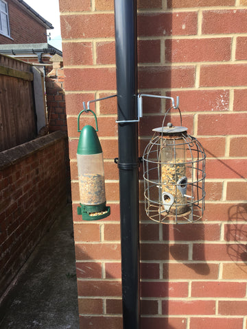 Bird feeder hanger / small hanging basket hanger - 2Pk - for drainpipes. £6.99