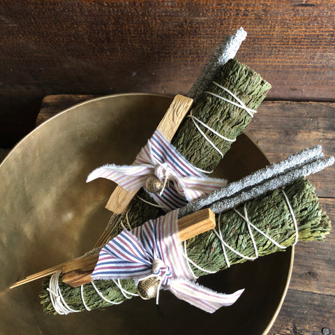 Large Cedar, Palo Santo, Copal Smudge Bundle