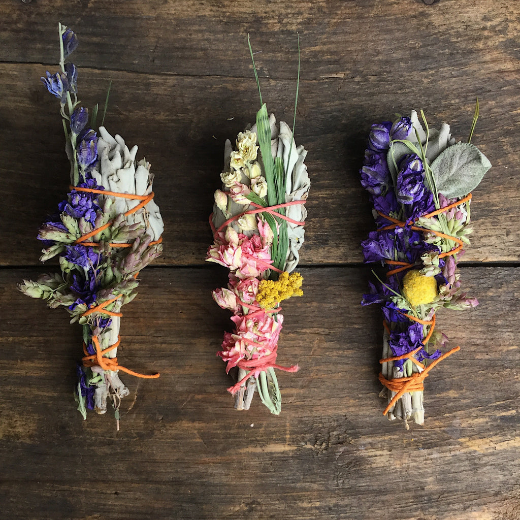 White sage and wildflower smudge sticks