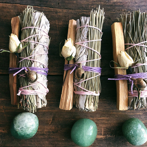 Small Sage + Pinion Pine Smudge with Green Aventurine & Palo Santo + Rose Bud