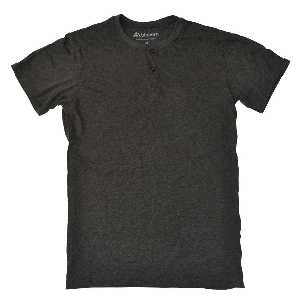 Recycled henley polyester / cotton shirt - black