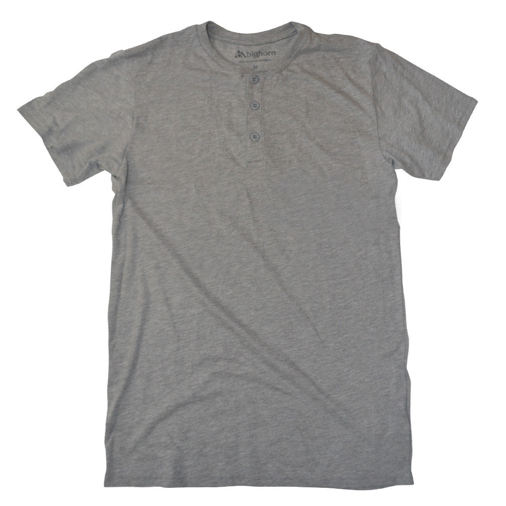 Recycled henley polyester / cotton shirts - grey