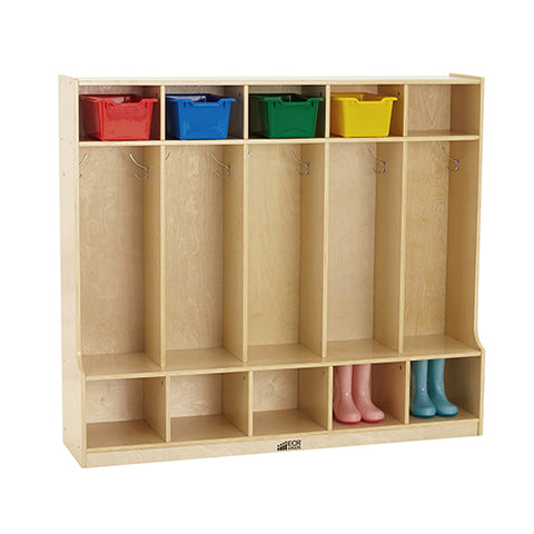 46ET096 - Birch 5-Section Coat Locker with Bench
