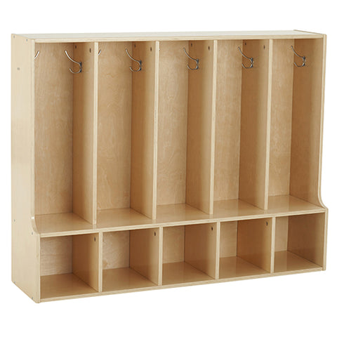 46ET098 - Birch Streamline 5-Section Toddler Coat Locker with Bench