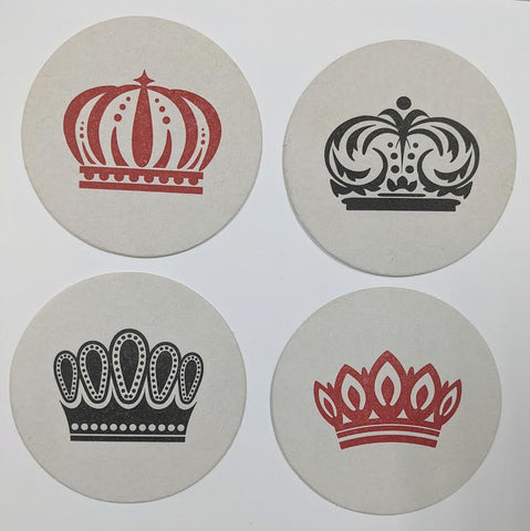 COASTERS - HP -  CHECKERS SMALL BOX OF 16 LETTERPRESSED