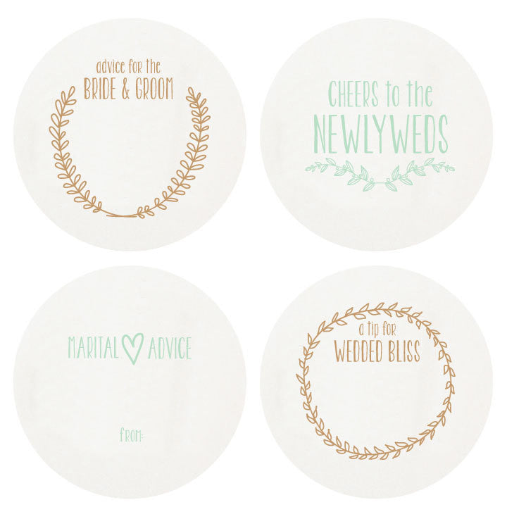 LETTERPRESSED NEWLYWED COASTERS SMALL BOX OF 16
