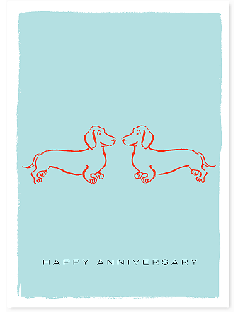 HAPPY ANNIVERSARY WIENER DOGS - GREETING CARD