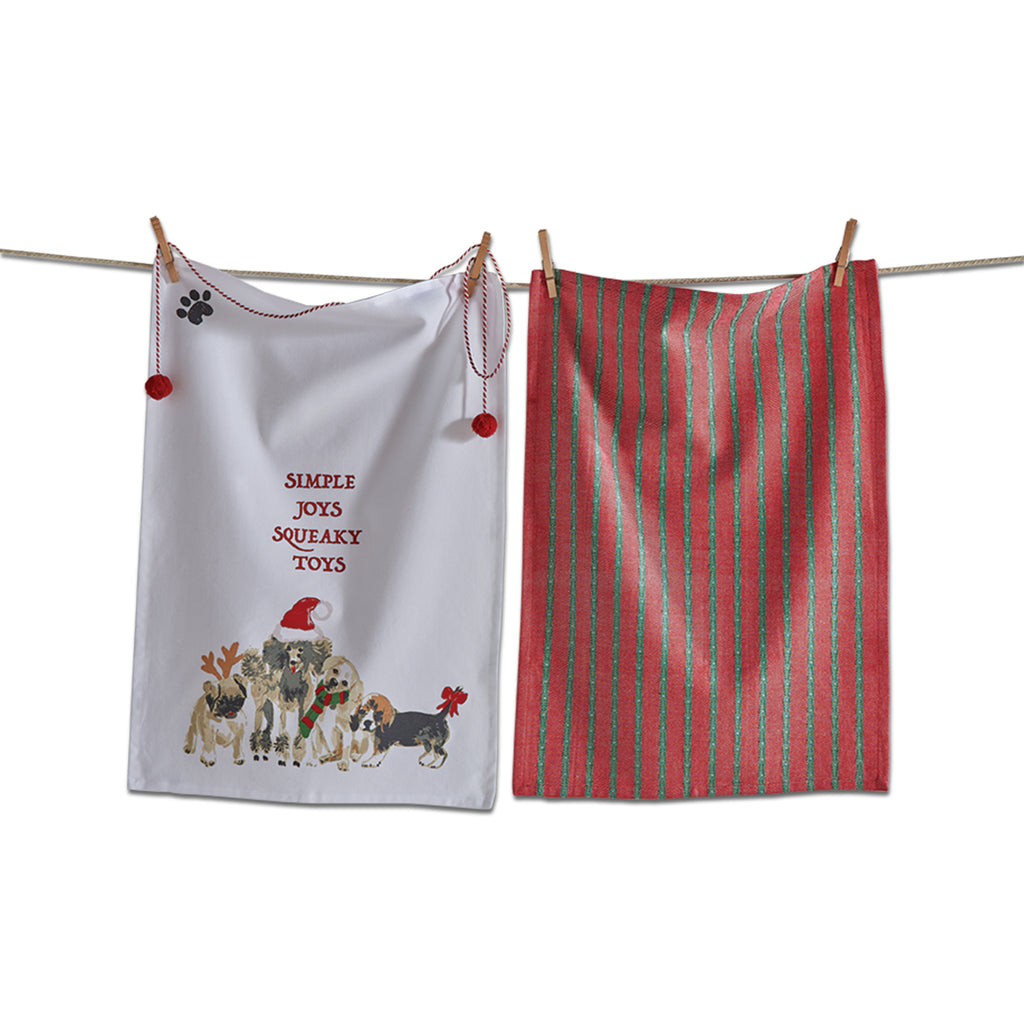 KITCHEN TOWEL - TAG - HOLIDAY DOGS SET OF 2 TOWELS 1 DOG 1 PLAID