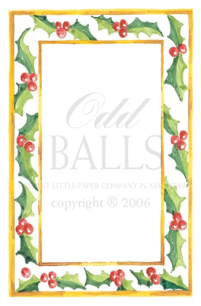 INVITATION - OB - GILDED HOLLY BORDER - IMPRINTABLE