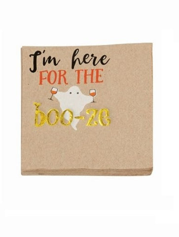 HALLOWEEN BEVERAGE NAPKIN -MP- I'M HERE FOR THE BOO-ZE