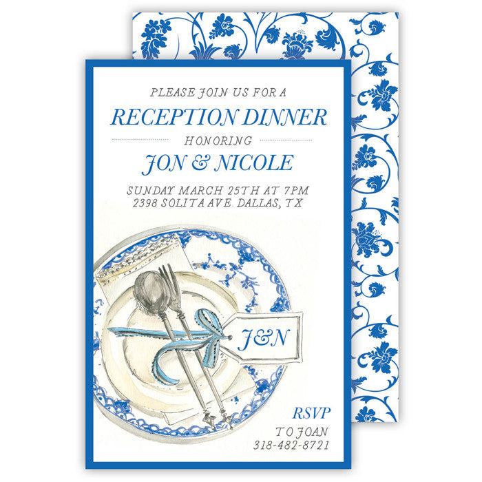 BLUE CHINA PATTERN - IMPRINTABLE INVITATIONS