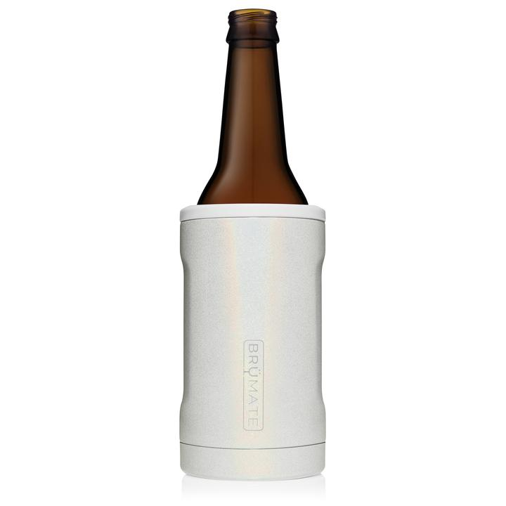 "HOPSULATOR  ""BRUMATE"" BOTTLE HOLDER  - BM - GLITTER WHITE KEEPS DRINKS COLD"